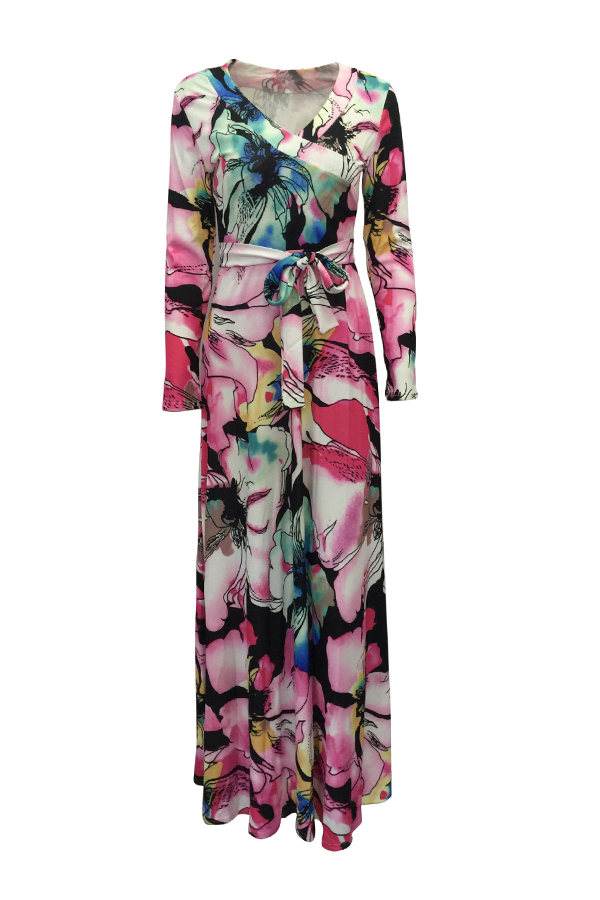 Lovely Bohemian V Neck Printed Lace-up Pink Ankle Length Dress