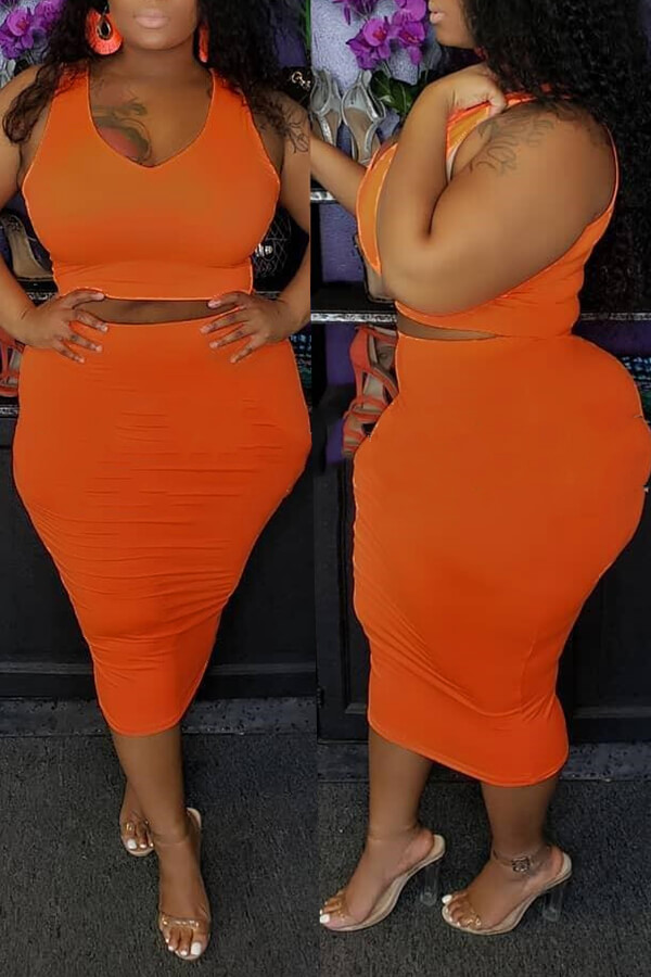 Lovely Casual O Neck Sleeveless Orange Two-piece Skirt Set