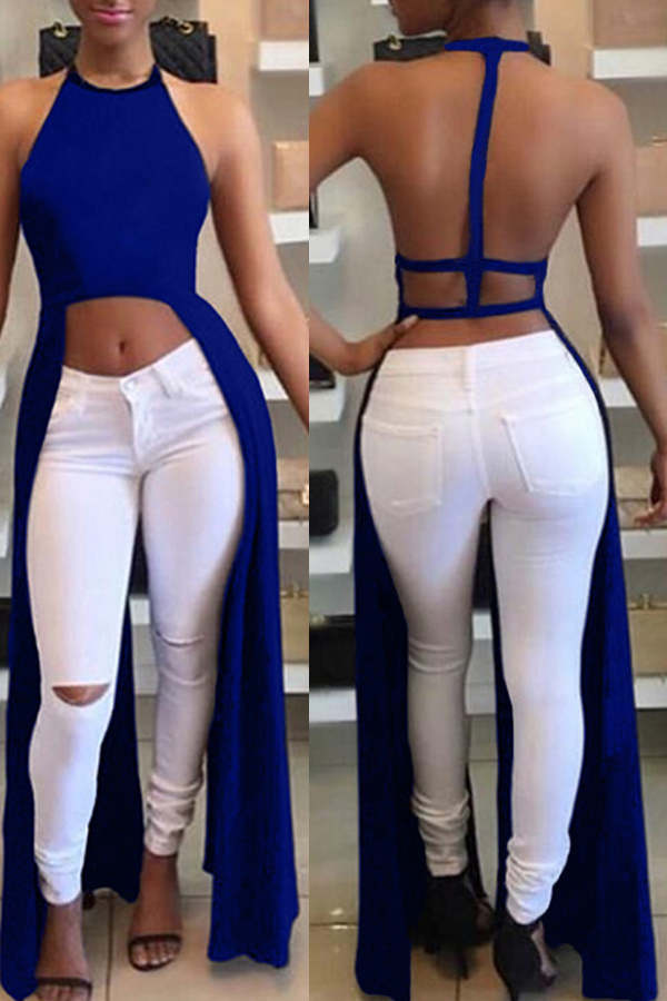 lovelywholesale / Cheap Blouses&Shirts Lovely Sexy Backless Asymmetrical Blue Blouse