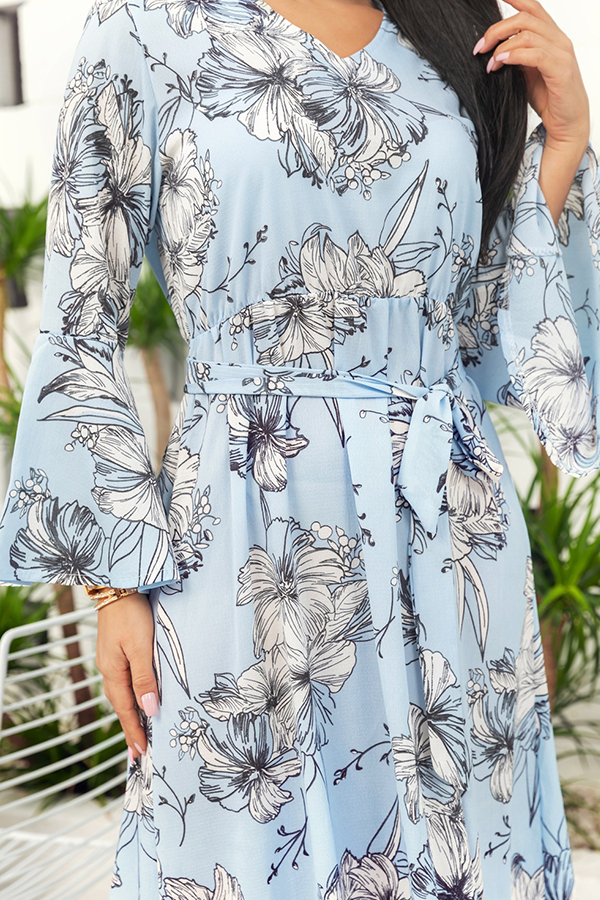 Lovely Stylish Printed Hollow-out Lace-up Skyblue Mid Calf Dress