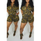 Lovely Casual Camouflage Printed Yellow One-piece Romper