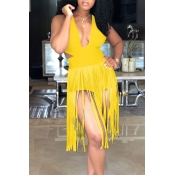 Lovely Sexy Tassel Design Yellow One-piece Romper
