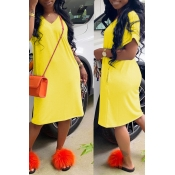 Lovely Casual Loose Straight Yellow Knee Length Dr