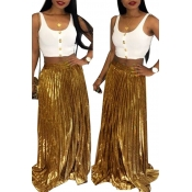 Lovely Casual Gold Floor Length A Line Skirts