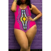 Lovely Plus-size Printed Rose Red One-piece Swimwe