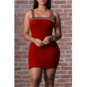 Lovely Casual Patchwork Wine Red Mini Dress(With E
