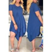 Lovely Casual Asymmetrical Dark Blue Mini Dress(Wi