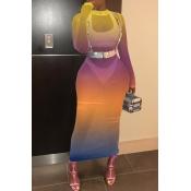 Lovely Trendy See-Through Orange Ankle Length Dres