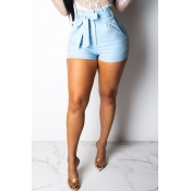 Lovely Casual Lace-up Blue Shorts