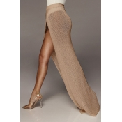 Lovely Women's High Split Light Tan Ankle Length A