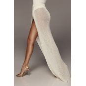 Lovely Women's High Split White Ankle Length A Lin