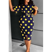 Lovely Work Dots Printed Knee Length Dress(With El