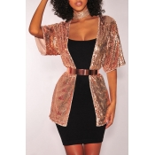 Lovely Casual Sequin Decoration Gold Jacket(Withou
