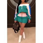 Lovely Trendy Patchwork Green Two-piece Skirt Set