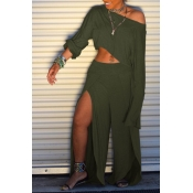 Lovely Trendy Side High Slit Green Two-piece Pants
