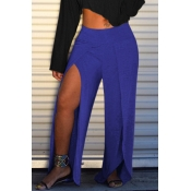 Lovely Casual High Split Blue Pants(With Elastic)