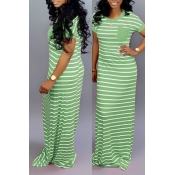 Lovely Casual Striped Green Floor Length Maxi Dres