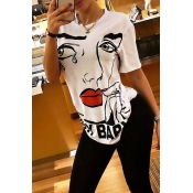 Lovely Fashion Printed White T-shirt