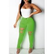 Lovely Casual High Waist Broken Holes Green Jeans