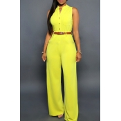 Lovely Casual Loose Yellow One-piece Jumpsuit(With Belt)