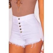 Lovely Trendy High Waist Buttons Design White Shor