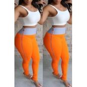 Lovely Casual High Waist Zipper Design Orange Pant