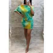 Lovely Chic Off The Shoulder Tie-dye Yellow Mini D