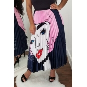 Lovely Sweet Portrait Printed Pink Ankle Length Sk