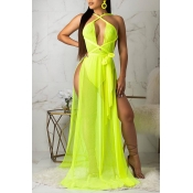 Lovely Sexy Backless High Slit Yellow Maxi Dress