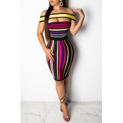 Lovely Trendy Off The Shoulder Striped Knee Length