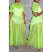 Lovely Stylish O Neck See-though Green Blouse