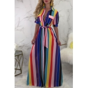 Lovely Bohemian Striped Purple Dress(With Elastic)