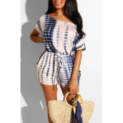 Lovely Casual Printed Lace-up White One-piece Romp
