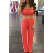 Lovely Casual Off The Shoulder Red Two-piece Pants