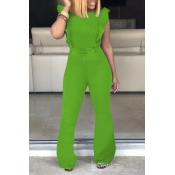 Lovely Trendy Ruffle Design Green Denim One-piece Jumpsuit