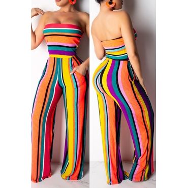 da2164e746bed Lovely Casual Striped Multicolor One-piece Jumpsuit