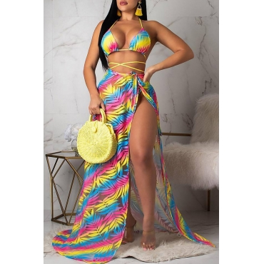 Lovely Sexy Lace-up Printed Yellow Two-piece Swimwear(With Cover-up)