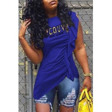 Lovely Casual Flounce Design Blue T-shirt