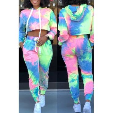 Bel Paio Di Pantaloni Multicolor A Due Pezzi Dal Colletto Con Cappuccio Casual
