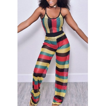 Lovely Casual Mesh Loose One-piece Jumpsuit(With Elastic)