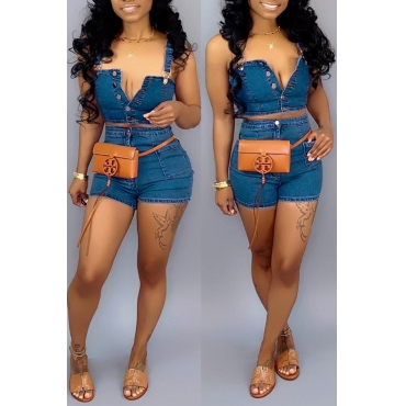 Lovely Work Sleeveless Buttons Design Blue Two-piece Shorts Set