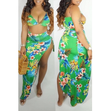 Lovely Printed Side Split Green Two-piece Swimwear