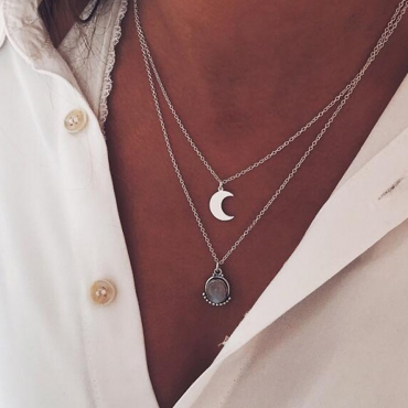Lovely Casual Multilayer Silver Necklace