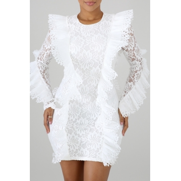 Lovely Chic Lace Patchwork White Mini Dress(With Elastic)