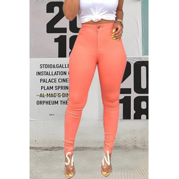 Lovely Casual High Waist Light Pink Pants(With Elastic)