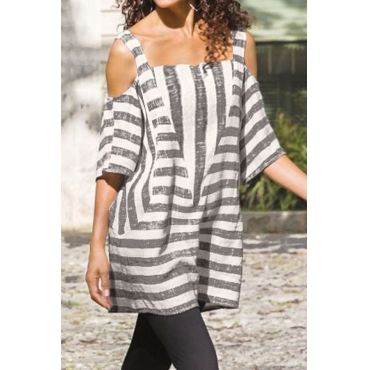 Lovely Off The Shoulder Striped Hollow-out Blouse
