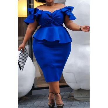 Lovely Trendy Ruffle Design Blue Mid Calf Dress