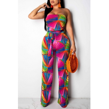 Lovely Casual Off The Shoulder Printed One-piece Jumpsuit