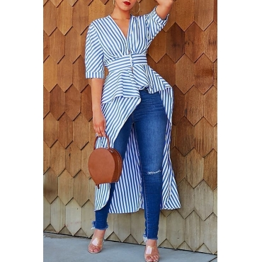 Lovely Casual Striped Asymmetrical Blue Blouse