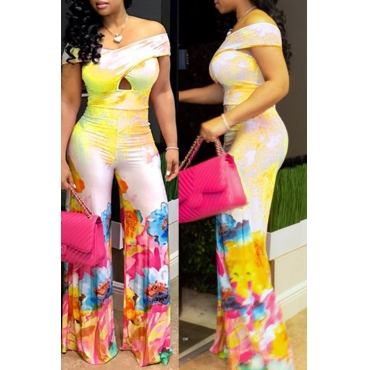 Lovely Bohemian Off The Shoulder Printed Yellow One-piece Jumpsuit